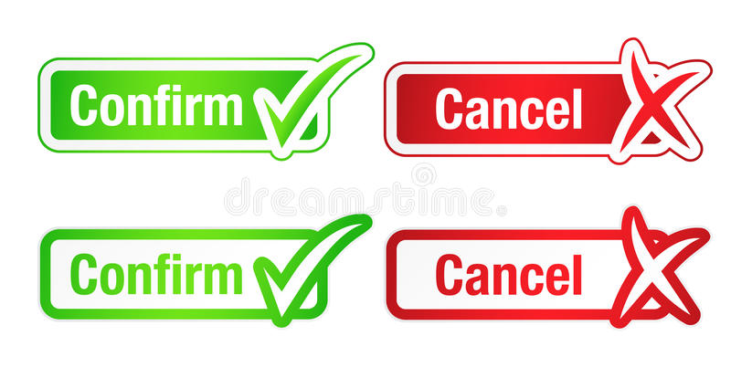 Download Confirm And Cancel Buttons With-Download Confirm And Cancel Buttons With Checkmarks Stock Vector -  Illustration of sticker, checkmark:-19