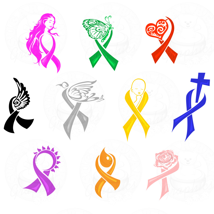 Cancer Awareness Clipart. Crochet Awareness Ribbons .
