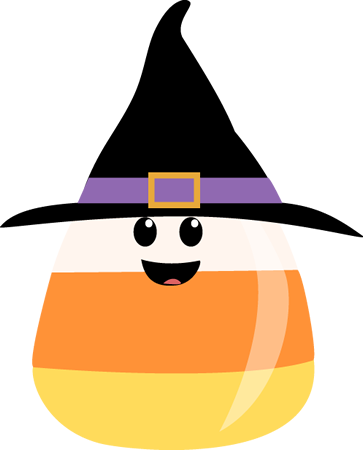 Candy Corn Wearing Witches Hat