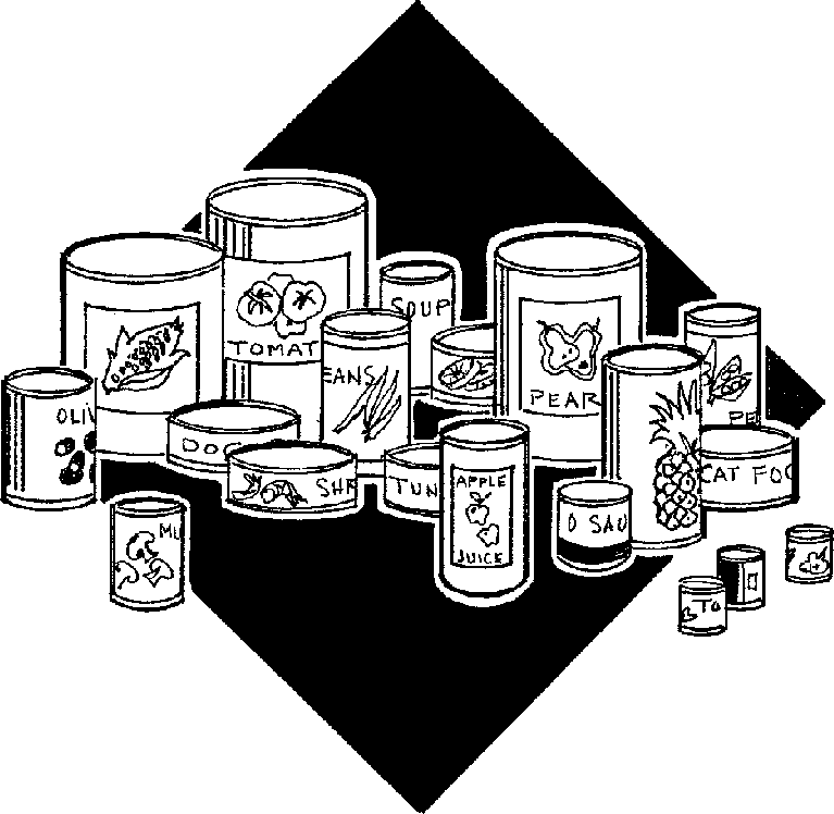 Canned food black and white c - Canned Goods Clip Art