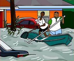 Canoeing on flooded street - Flood Clip Art