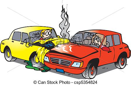 car accident - two cars in an accident in an intersection