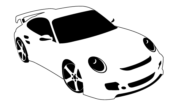 car clipart black and white. Sport Car 123freevectors