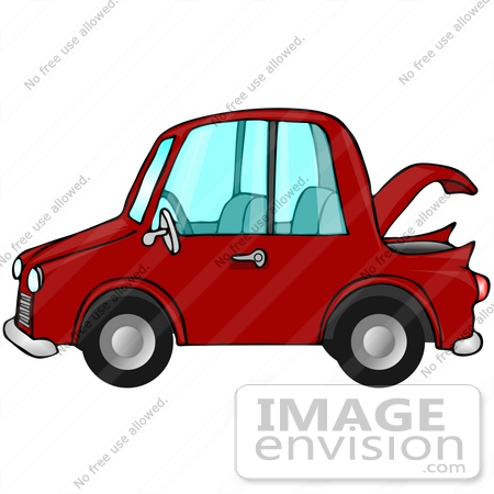 #29763 Clip Art Graphic of a Red Compact Car With the Trunk Open by DJArt