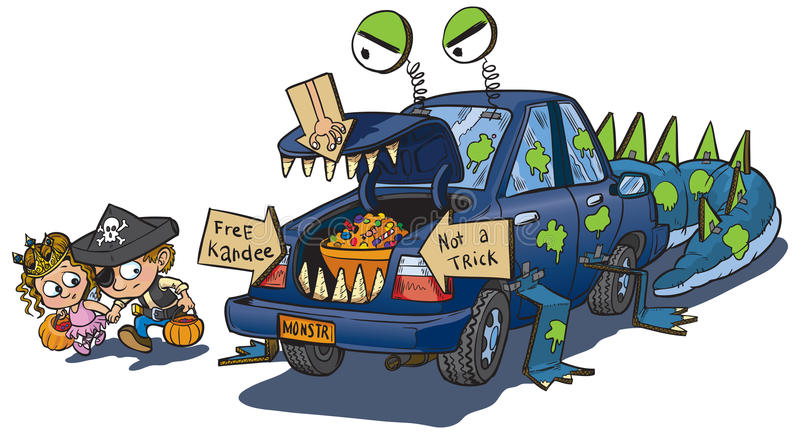 A vector clip art cartoon of two kids warily approaching a car decorated  for a trunk or treat event on Halloween. The car is decorated to look like  a ClipartLook.com