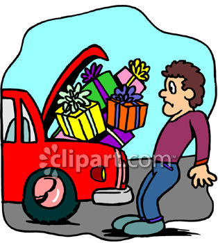 Clipart Picture of a Man Trying to Fit Too Many Packages Into His Car Trunk