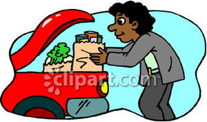 Person Putting Groceries In the Trunk Of Their Car - Royalty Free Clipart  Picture