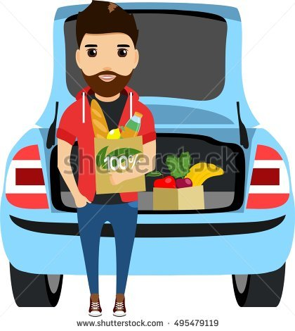 The young man puts shopping in the trunk of his car. Eco friendly products.