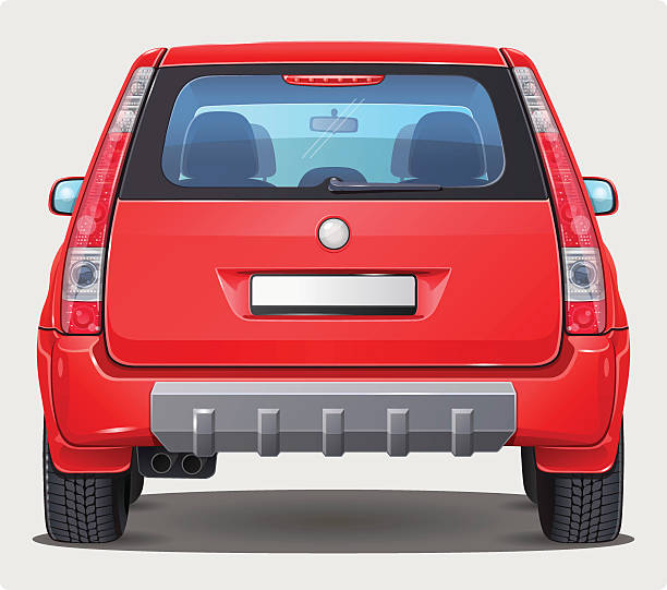 Vector Car - Back view vector art illustration
