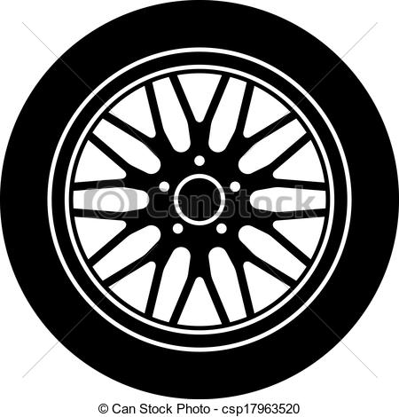 Vector Car Aluminum Wheel Black White Sy-Vector Car Aluminum Wheel Black White Symbol-6