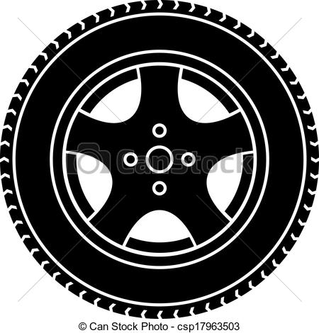 Vector Car Wheel Black White Symbol-Vector Car Wheel Black White Symbol-3