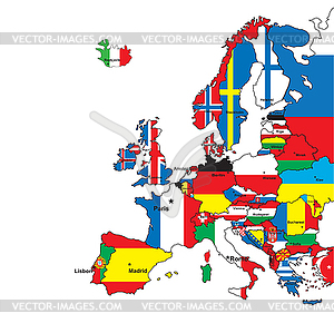 Card Of Europe In Flag Colors Vector Clip Art