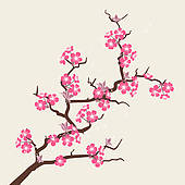 ... Card with stylized cherry blossom fl-... Card with stylized cherry blossom flowers.-13