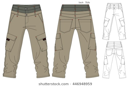Cargo Pants Vector Template-Cargo Pants Vector Template-14