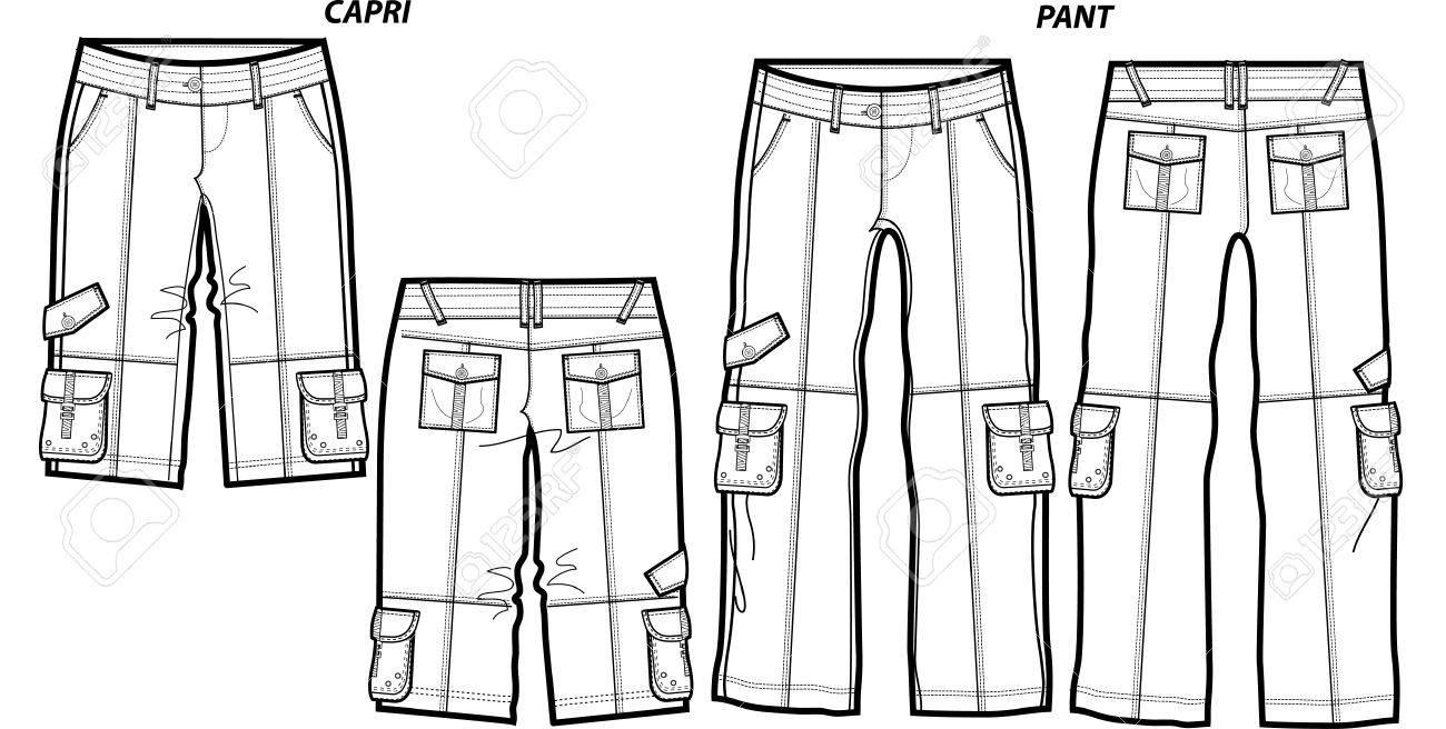 Lady Fashion Cargo Pants And Shorts Stoc-lady fashion cargo pants and shorts Stock Vector - 5527428-11