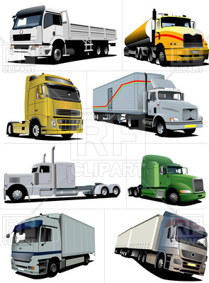 European and american trucks - gas-tank truck, prime mover and cargo truck,  ClipartLook.com