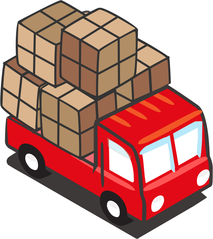 Free Simple Cartoon Truck with Cargo Clip Art