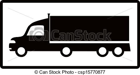 isolated cargo truck silhouette - csp15770877