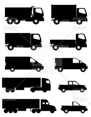 Side silhouettes of trucks for transportation cargo, 45880, download  royalty-free vector vector ClipartLook.com