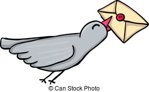 ... Carrier pigeon - Painted carrier pigeon, vector illustration