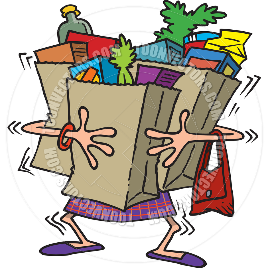 Carrying Grocery Bag Clipart # .