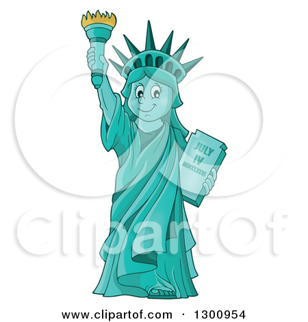 Carton Happy Statue Of Liberty Holding Up A Torch by visekart