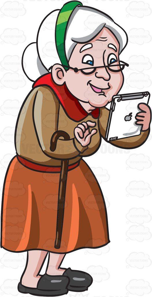 Cartoon An Old Woman Playing .-Cartoon An Old Woman Playing .-1