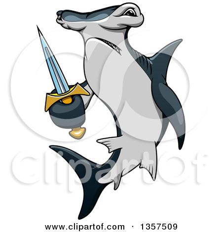 Cartoon Angry Hammerhead Shark Holding A-Cartoon Angry Hammerhead Shark Holding A Sword by Vector Tradition SM-11