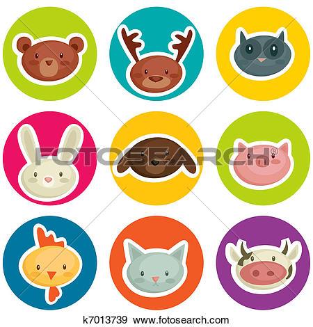 cartoon animal head stickers - Sticker Clip Art