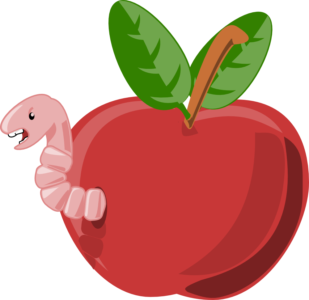 Cartoon Apple With Worm-Cartoon Apple With Worm-18