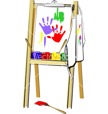 Cartoon Art Easel An Art Easel With