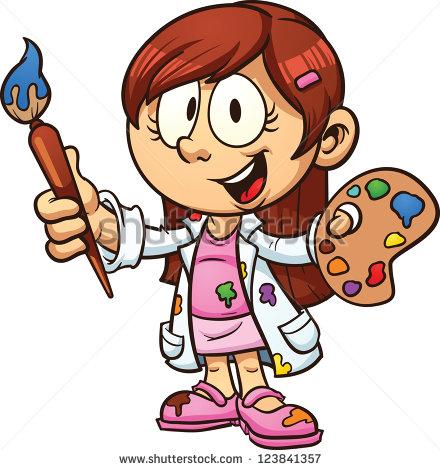 Cartoon Artist Girl Vector Clip Art Illu-Cartoon Artist Girl Vector Clip Art Illustration With Simple-13