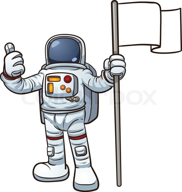 Cartoon Astronaut With Blank Flag Vector-Cartoon Astronaut With Blank Flag Vector Clip Art Illustration With-13