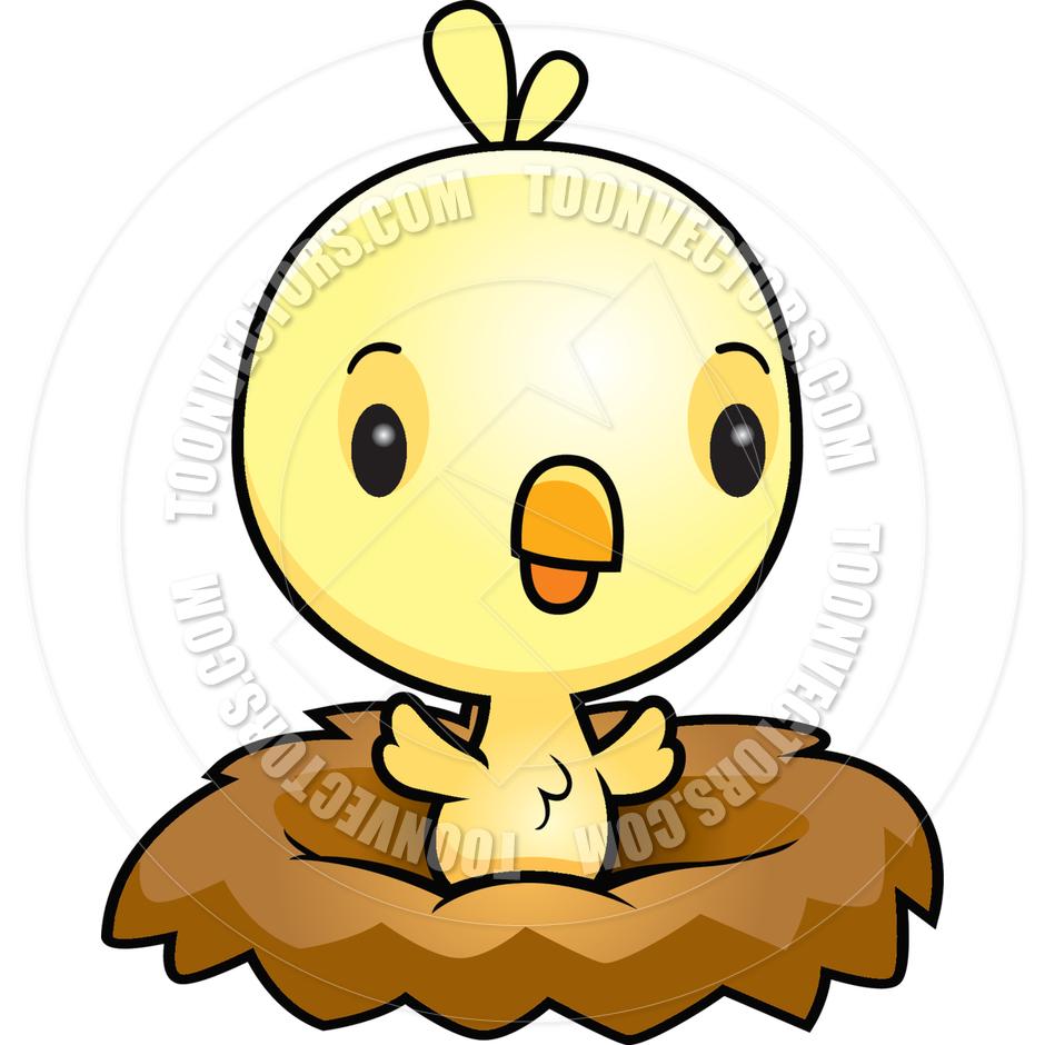 Cartoon Baby Bird Chick Nest