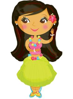 Cartoon Baby Hula Girl Clipart .