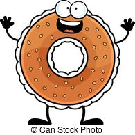 ... Cartoon Bagel Happy - Cartoon illustration of a bagel with a.