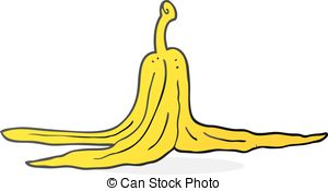 ... cartoon banana peel - freehand drawn cartoon banana peel