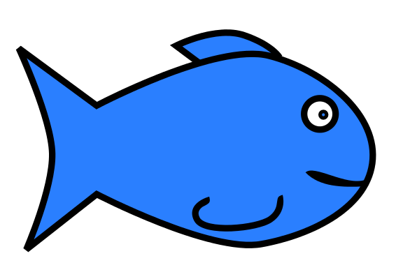 Cartoon Blue Fish Clip Art .