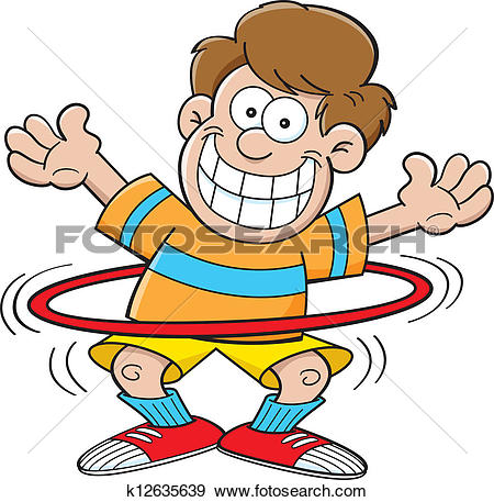 Cartoon boy with a hula hoop