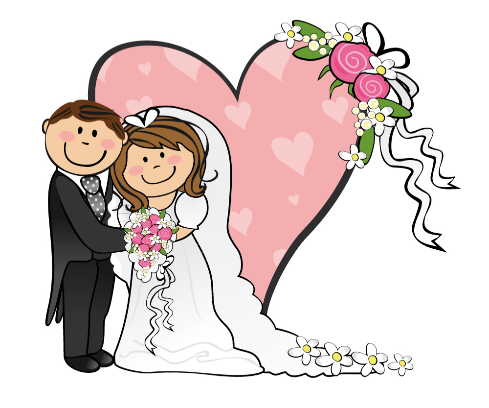 Cartoon Bride And Groom On Wedding Background Of Pink Hearts