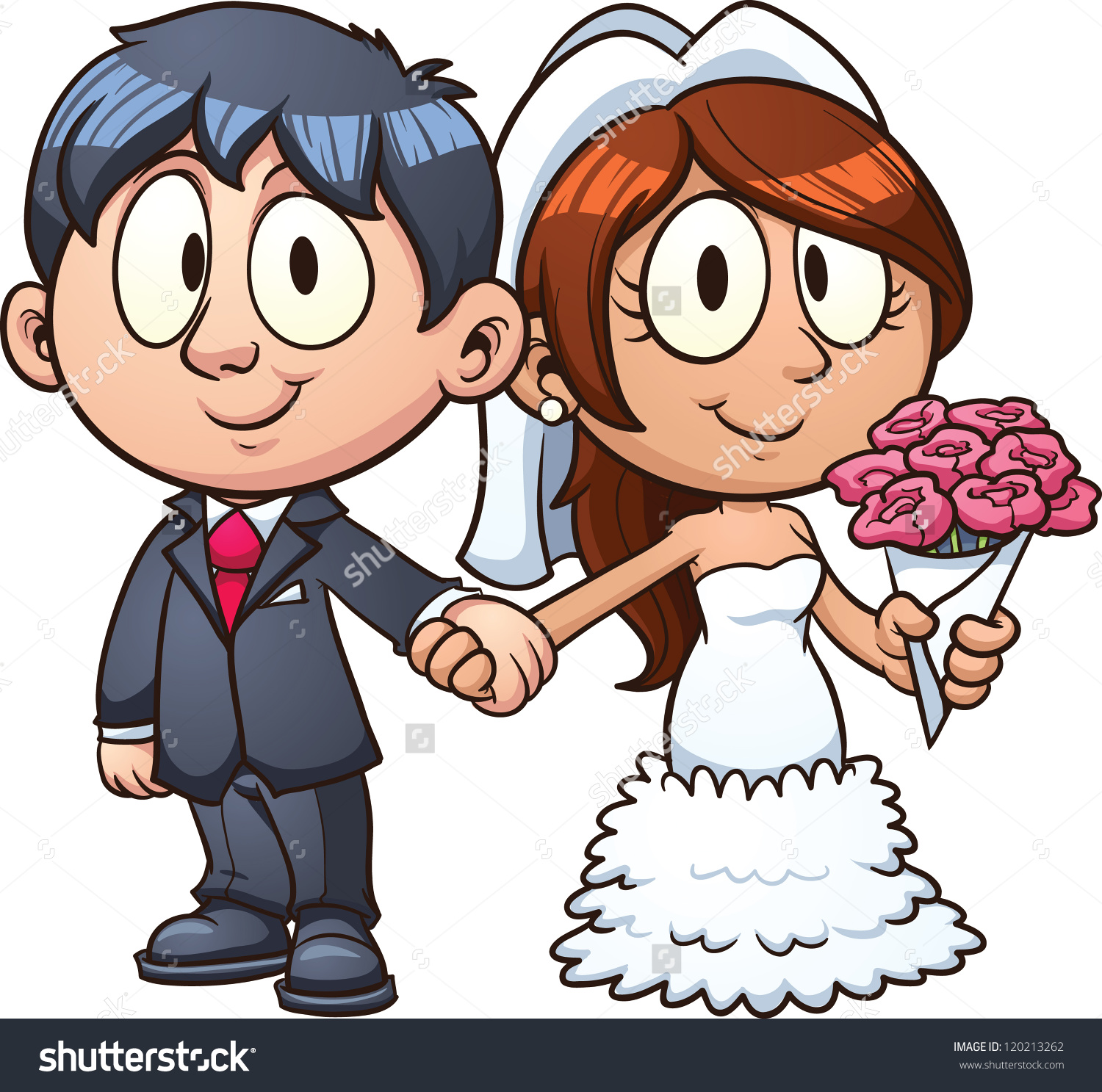 Cartoon bride and groom. Vect - Bride And Groom Clipart