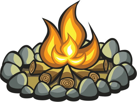 Cartoon Campfire vector art .
