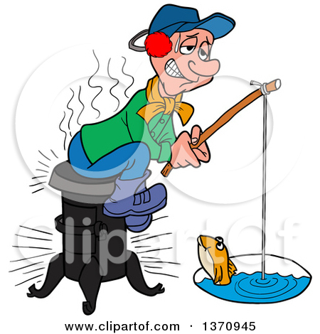 Cartoon Caucasian Man Sitting On A Wood Stove And Ice Fishing