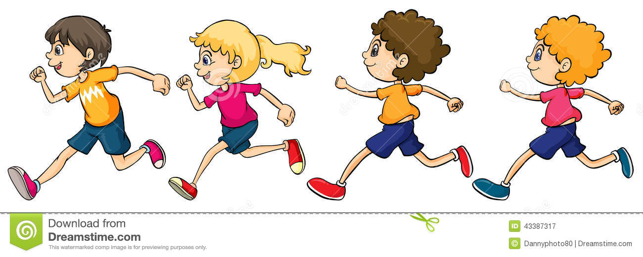 Cartoon Children Running Race Stock Photos Images Pictures