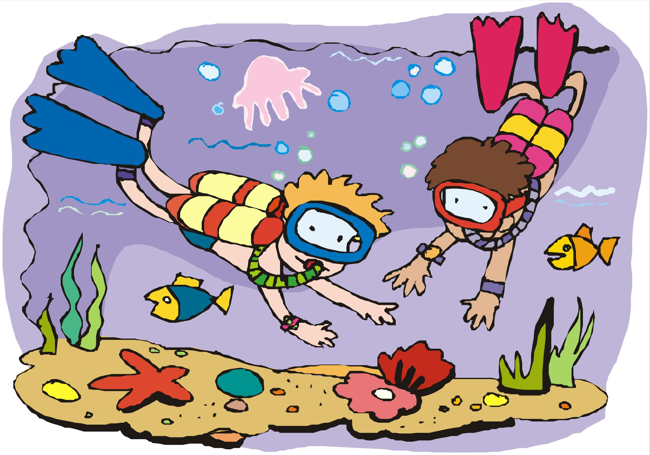 Cartoon Children SCUBA Divers