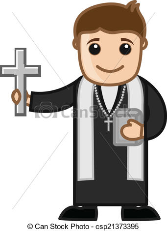 ... Cartoon Christian Priest Vector - Pr-... Cartoon Christian Priest Vector - Priest - Vector Character.-5