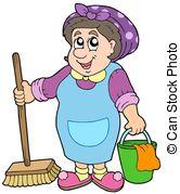 ... Cartoon cleaning lady - isolated ill-... Cartoon cleaning lady - isolated illustration.-10