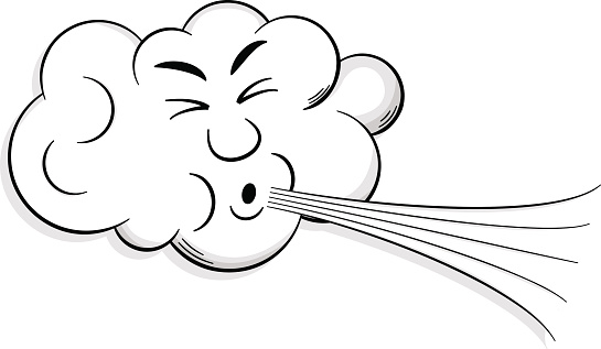 cartoon cloud blows wind .