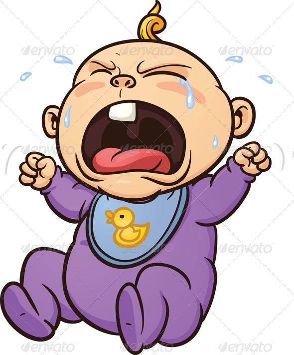 Cartoon Crying Baby Vector Clip Art Illustration With Simple
