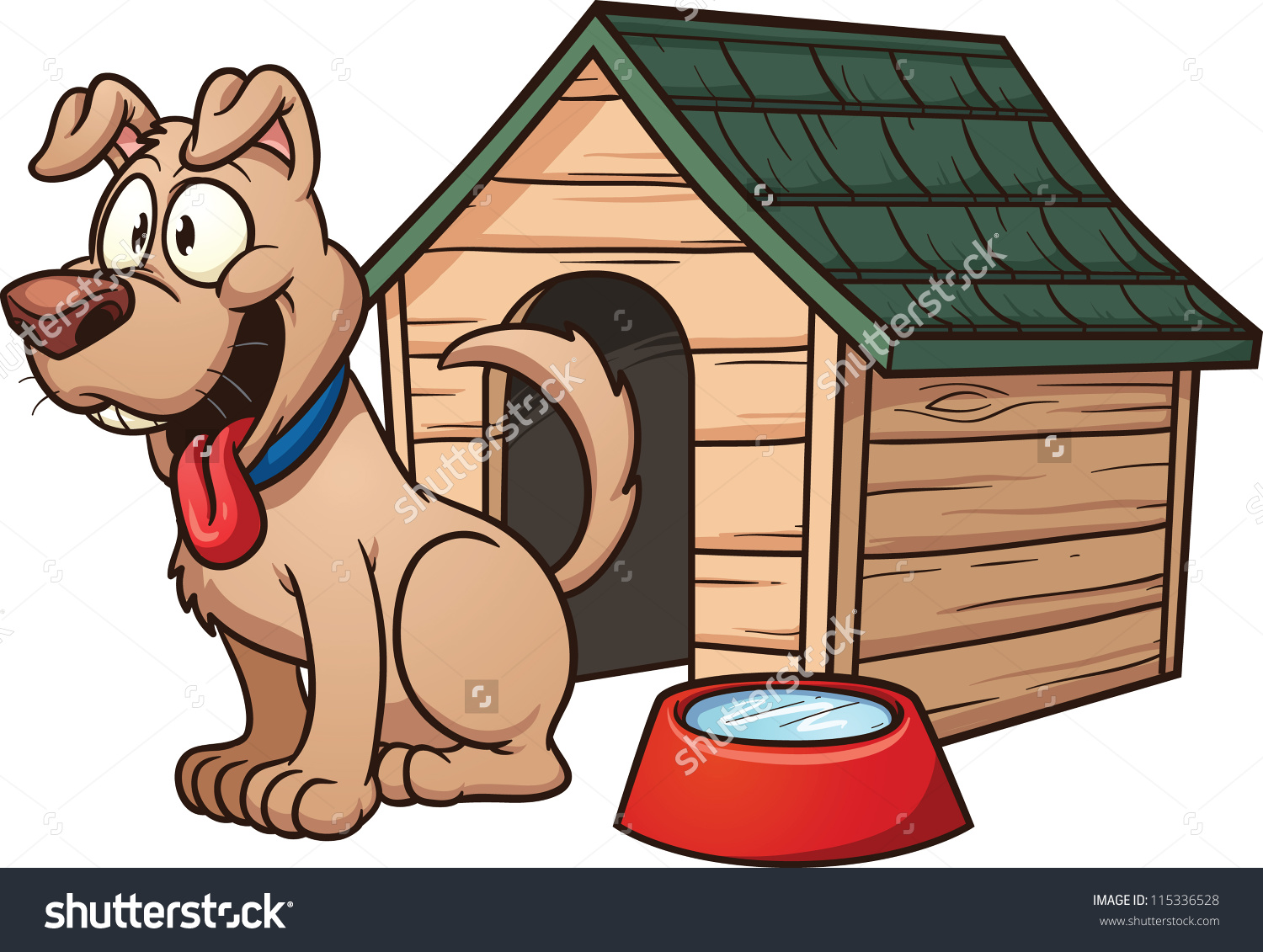 Cartoon dog house. Vector clip art illustration with simple gradients. Each element in a